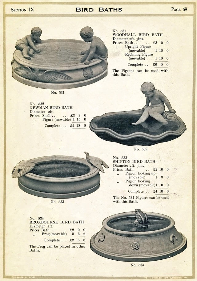 Page 69e - Bird Baths from The Garden Ornament Catalogue by James Pulham and Son