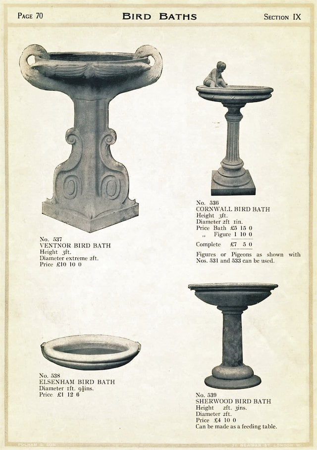 Page 70e - Bird Baths from The Garden Ornament Catalogue by James Pulham and Son