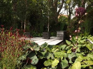 Firecracker Sanguisorba flowers. Design Ian Barker Gardens MIFGS 2015