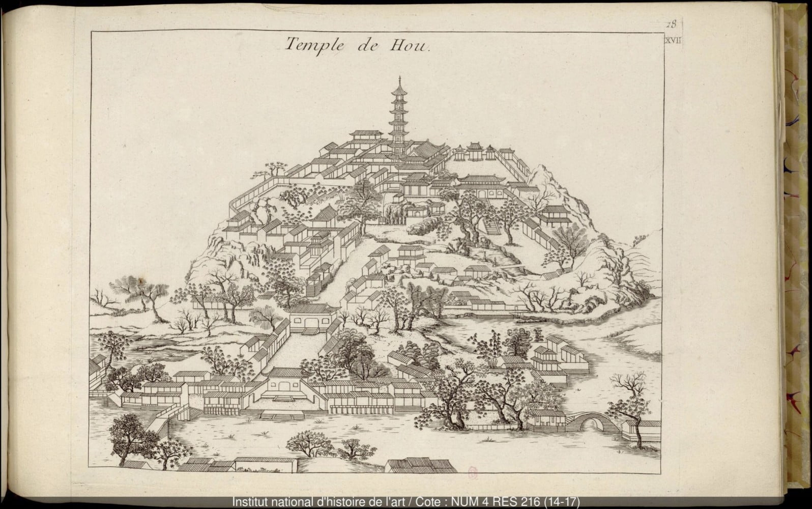 Temple de Hou, from cahier 14 of Jardins anglo-chinois à la mode