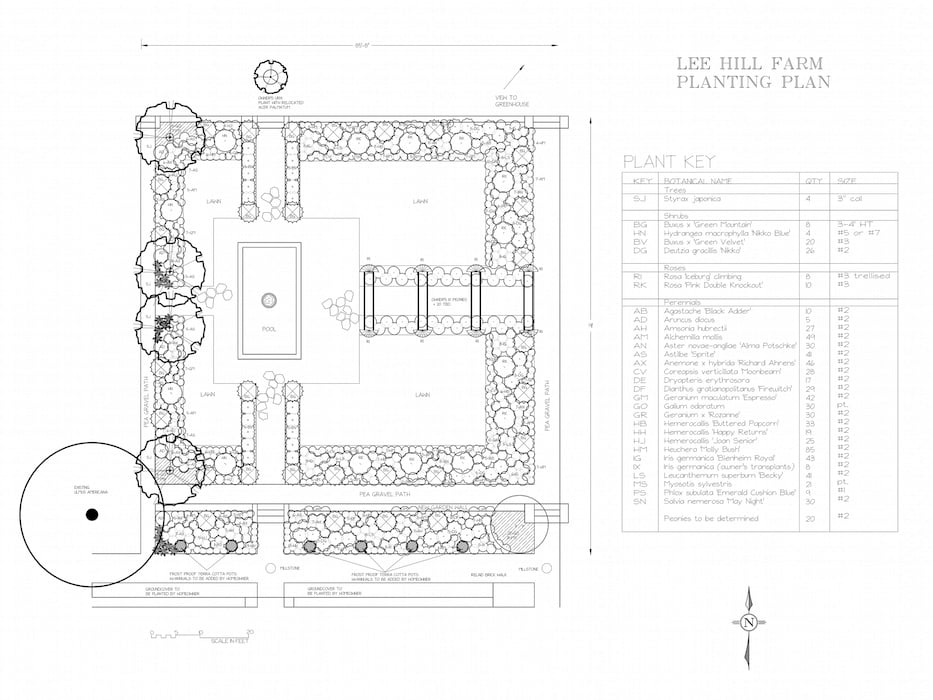 Planting plan Lee Hill Farm Design. Susan Cohan APLD