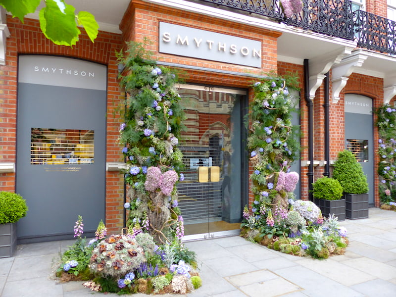 Smythson shop front Sloane in Bloom 2015