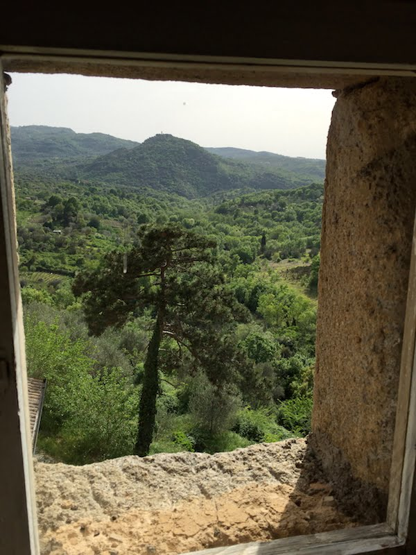 Views out: from a window, Castello di Potentino
