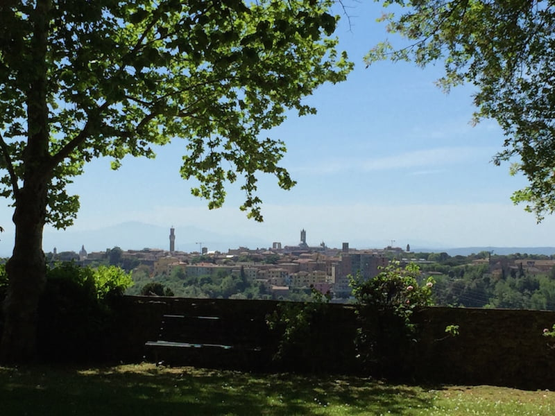 Views out: landscape and cityscape, from Villa La Foce