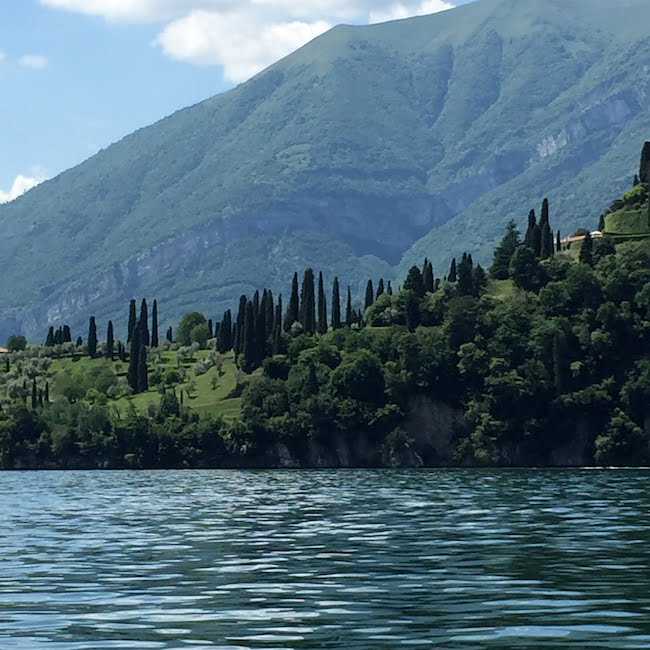 Views out: water. trees and mountains, Lake Como