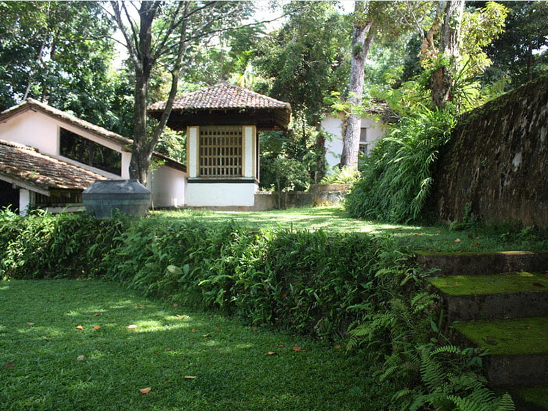 Part of the house and garden at Geoffrey Bawa's garden, Lunuganga. Photo Fiona Ogilvie