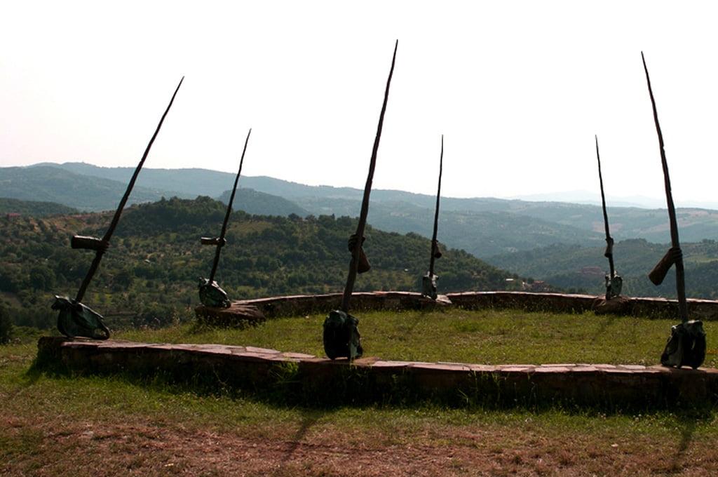 Nine horse skulls in the 'The Circle of Unicorns' Daniel Spoerri garden