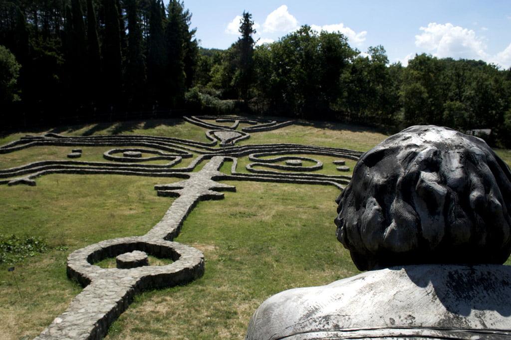 Maze in Daniel Spoerri garden, Seggiano, Tuscany