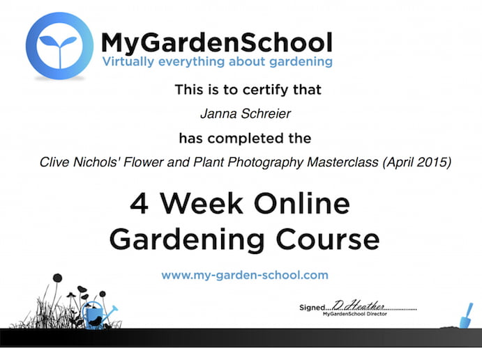 MGS Photography course certificate