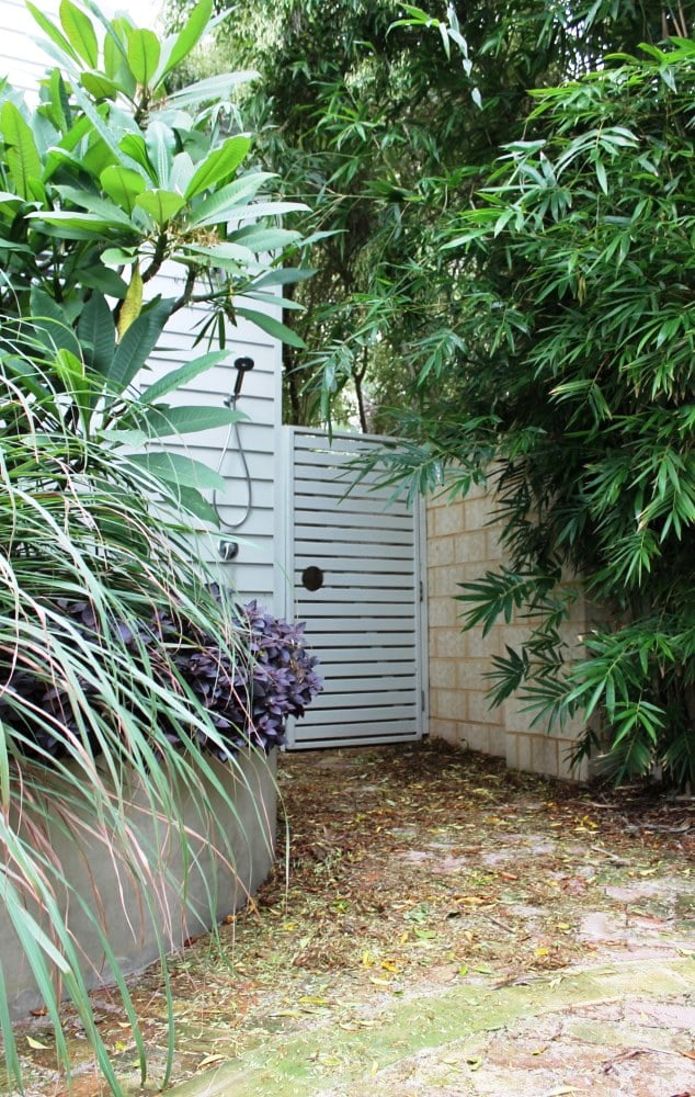 Outdoor shower with frangipani and bamboo