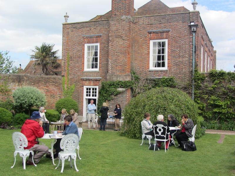 Lucky garden tour participants enjoy the garden at Lamb House