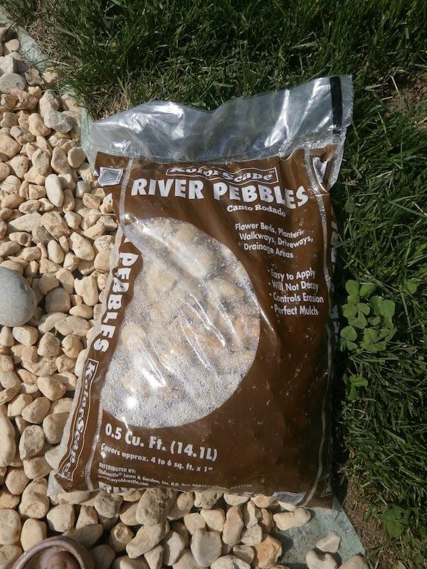 River pebbles for the rain garden