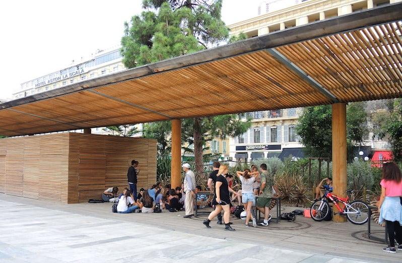 Timber decking - preferred teenager seating. Promenade du Paillon, Nice