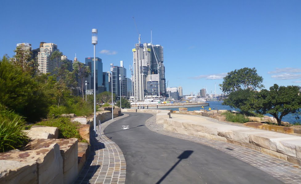 Barangaroo Point Park looking south towards the new International Towers Sydney building and the site for Crown Resort's new casino.