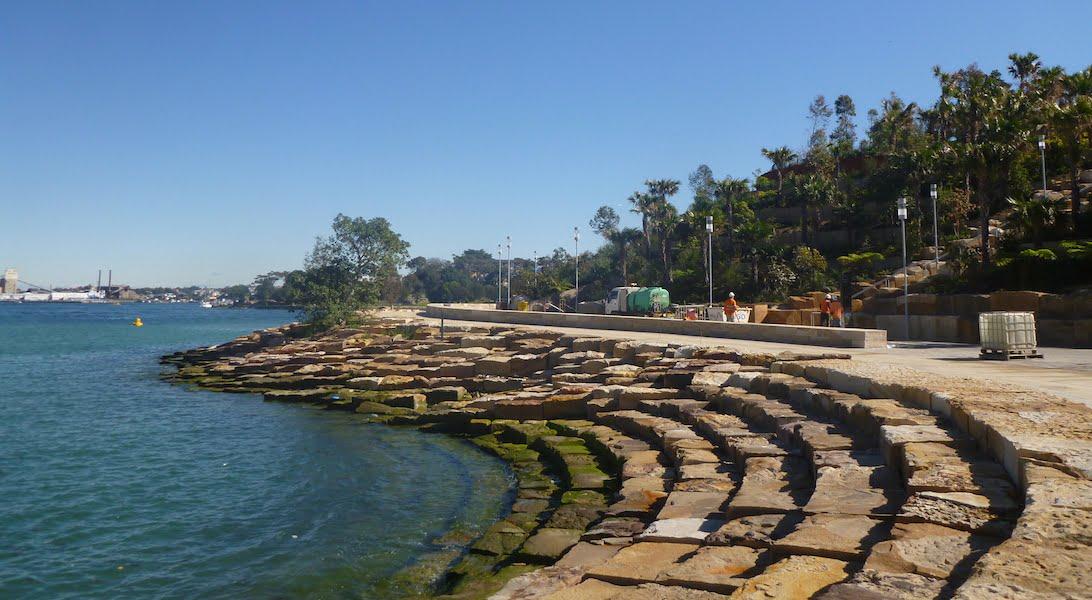Barangaroo Point Park sandstone block foreshore