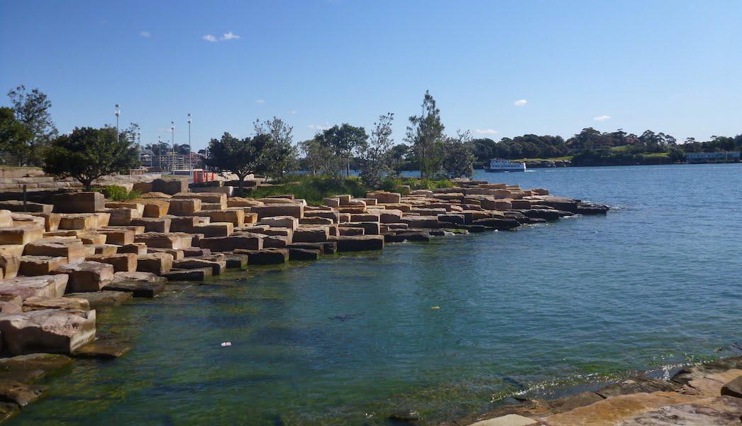 Barangaroo Point Park 'stepping stone' foreshore block stones