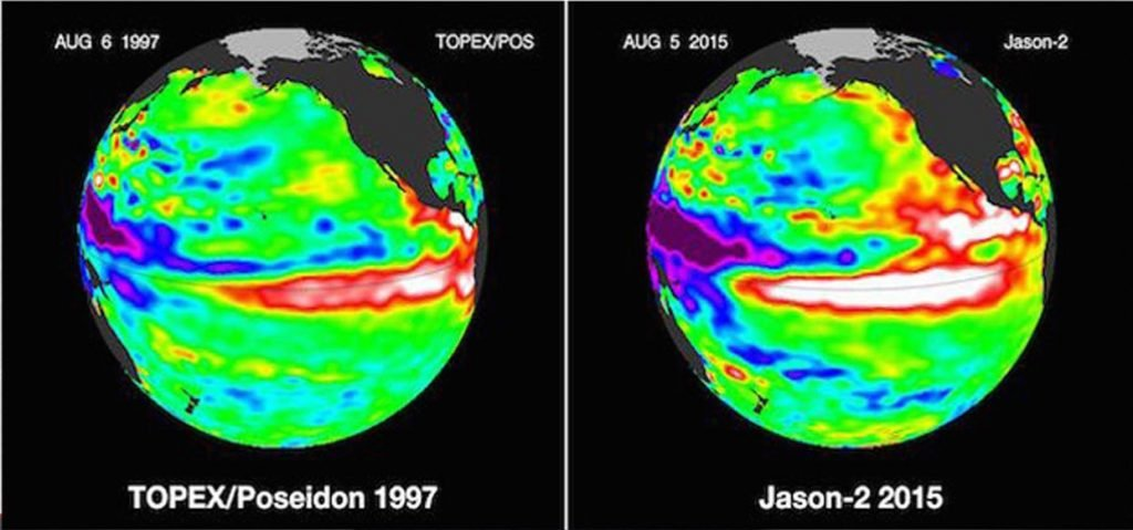 El Nino comparison 1997 and 2015. Image from NASA