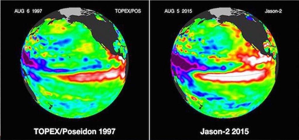 El Nino comparison 1997 and 2015. Image from NASA