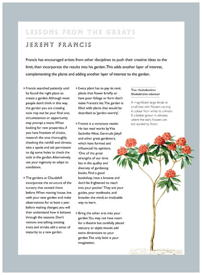Lessons from Great Gardeners - sample page on Jeremy Francis. Reproduced from 'Lessons From Great Gardeners', with permission.