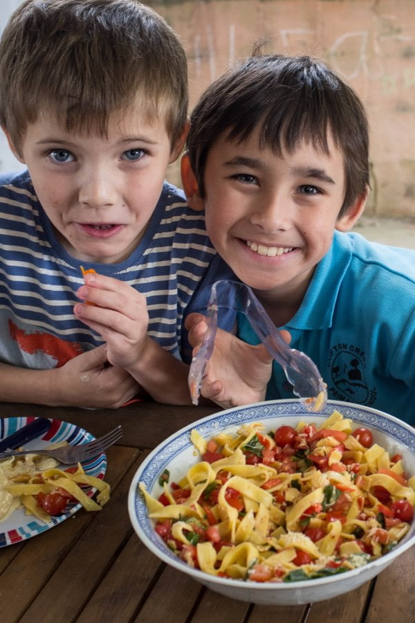 Clifton Creek Primary School students with pasta