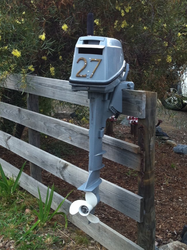 Boat outboard motor turned into a letterbox