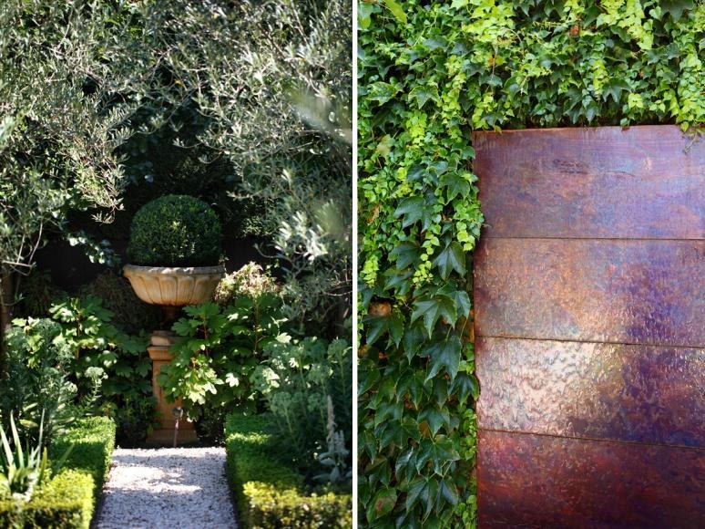 Plant-focussed parterre garden Design Ian Barker Gardens Melbourne. Water feature (right) by Rudi Jass.