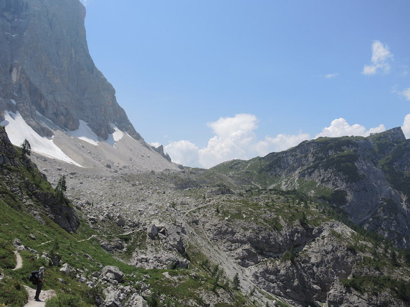 A distant Rifugia Tissi in the Dolomites