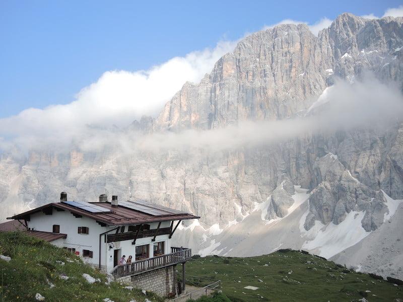 At last we arrived at Rifugia Tissi, Dolomites