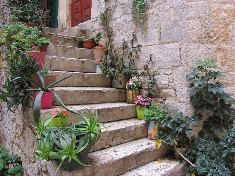 Colourful pots in Trogir in Croatia