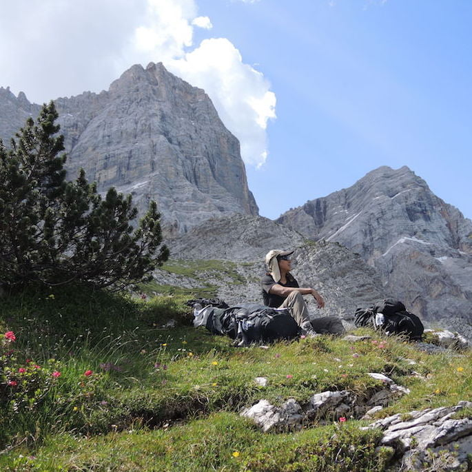 A rest stop in the spectacular Dolomites