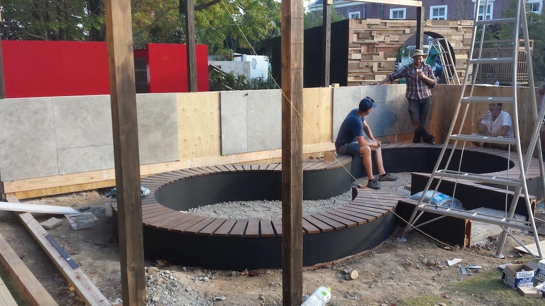 During construction of The Tea Garden