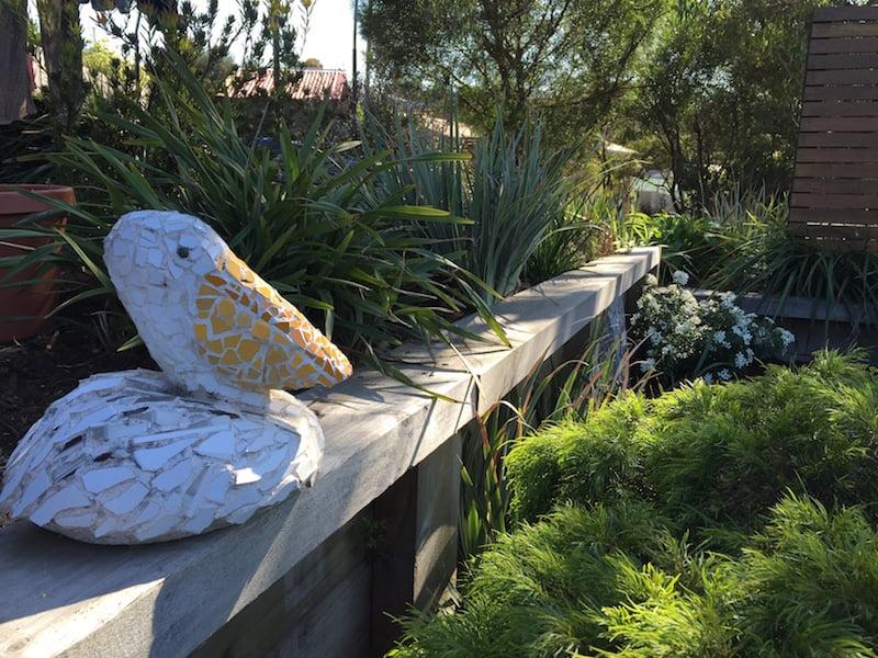 Mosaic pelican in my garden