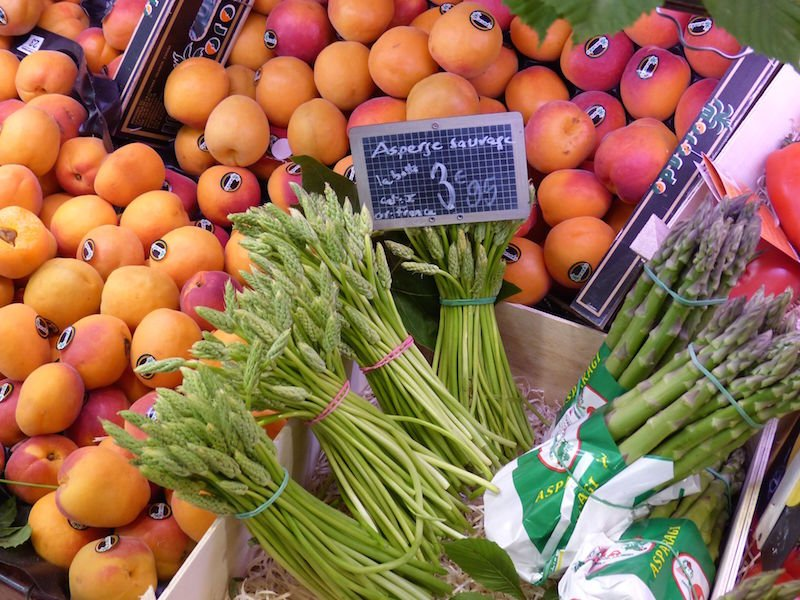 Fresh fruit and vegetable delicacies in a French local market