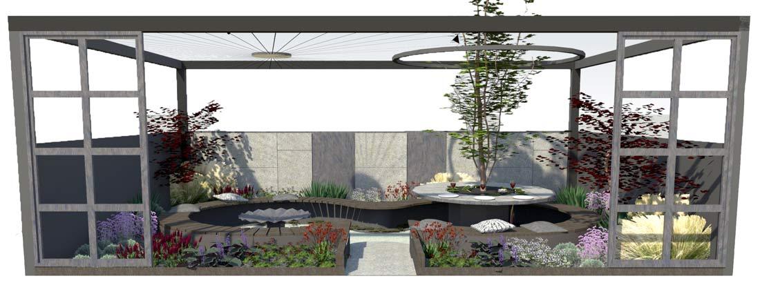 The Tea Garden. Design Ross Uebergang Japan Garden Show 2015 Plan elevation