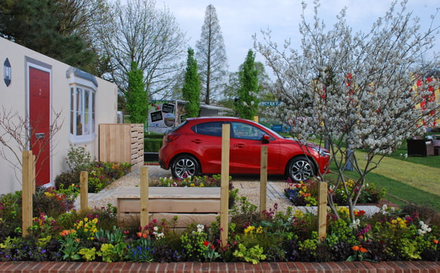 Garden designer, Lisa Cox's, award winning RHS Cardiff Flower Show entry, clearly demonstrating that a front garden can be both practical and beautiful. Photo: Lisa Cox