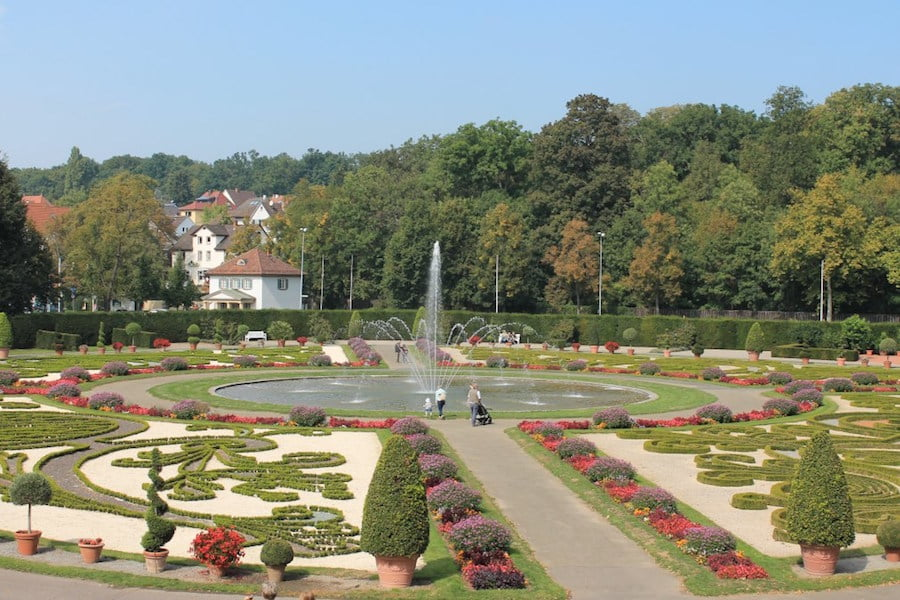 Ornate gardens at Ludwigsburg Castle, Germany