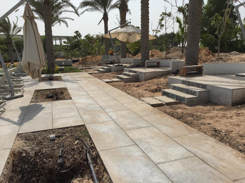 Pool area paving during construction