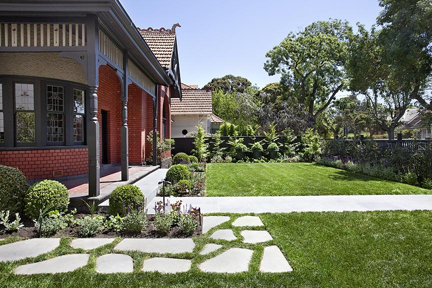St Kilda front garden showing heirarchy of paths and layered planting