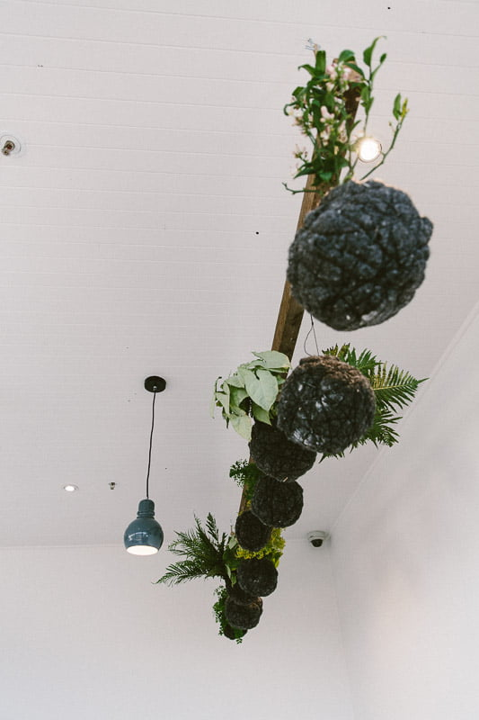 Hanging string balls at The Cellar Door. Planting design Phillip Withers. Photo Stuart Cox