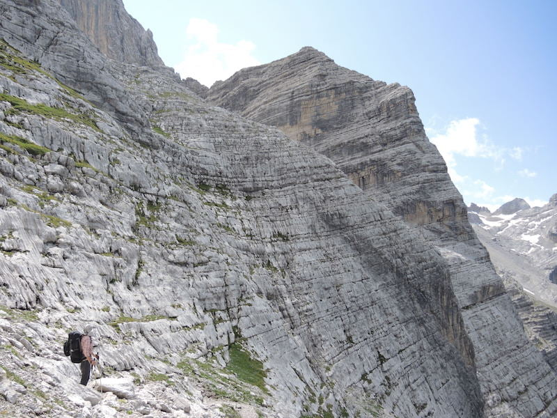 Approaching Forcella delle Sasse (aka Moiazetta)