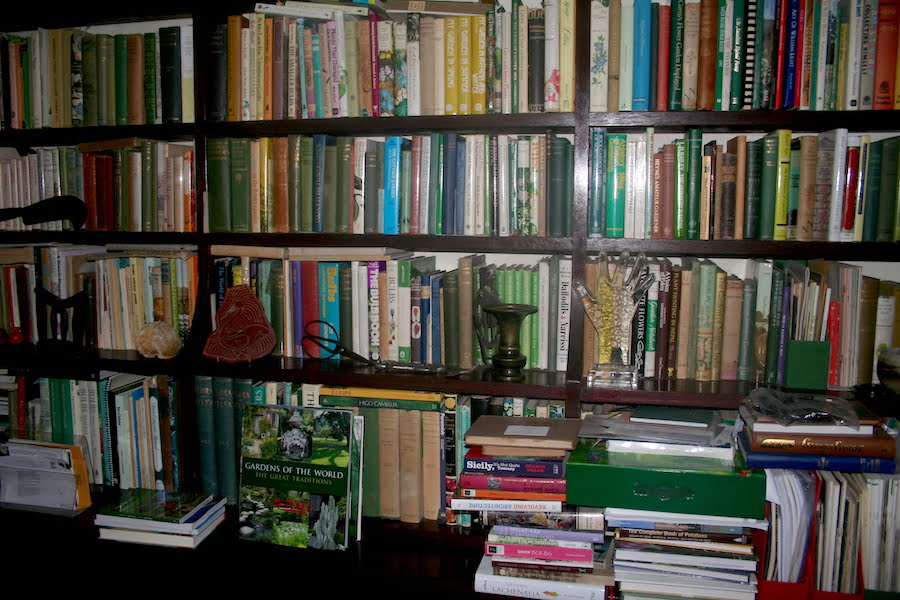 Four walls of garden books for handy reference
