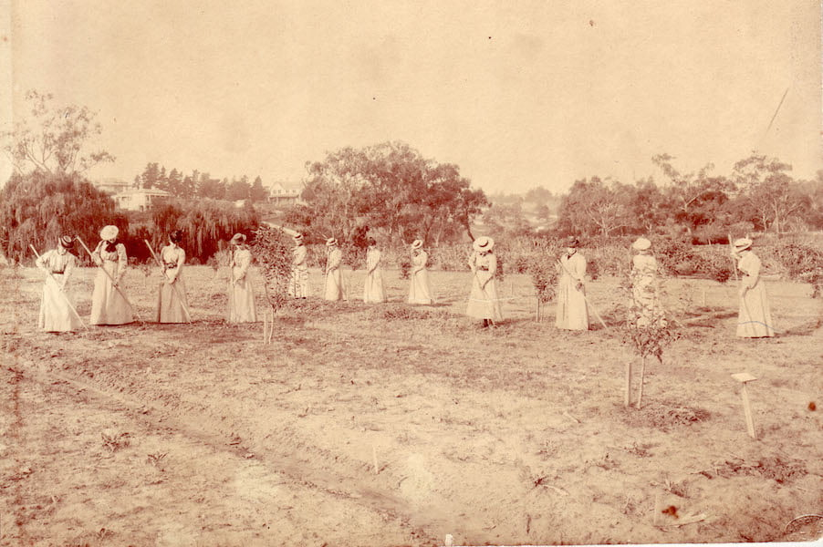 Women hoeing at Burnley c1900 Source University of Melbourne Burnley Archives