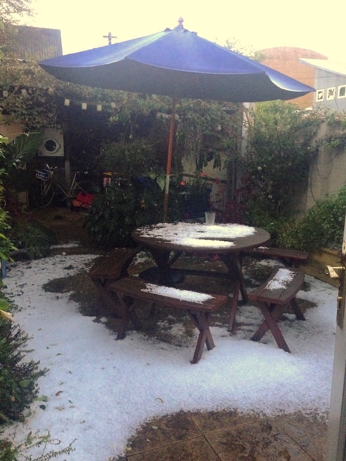 Hail in courtyard - Inner West Sydney, April 2015