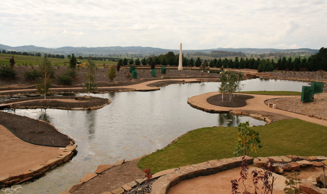 Mayfield water garden during construction in 2010 - views across lake to the obelisk
