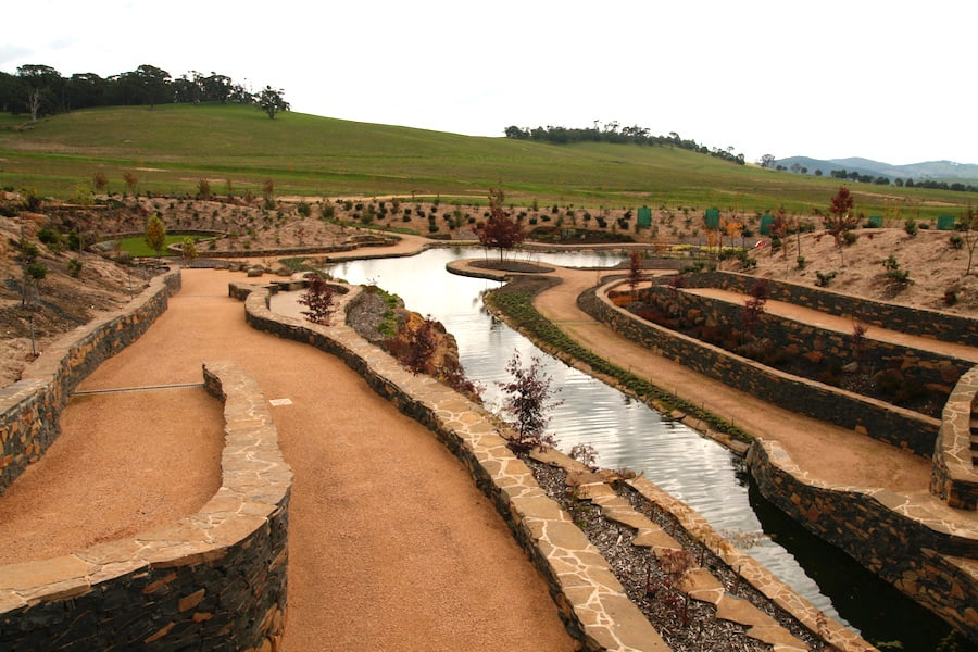 Mayfield water garden during construction in 2010 showing the scale of the garden hardscape