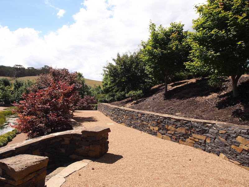 Mayfield Water Garden bluestone walls and wide path