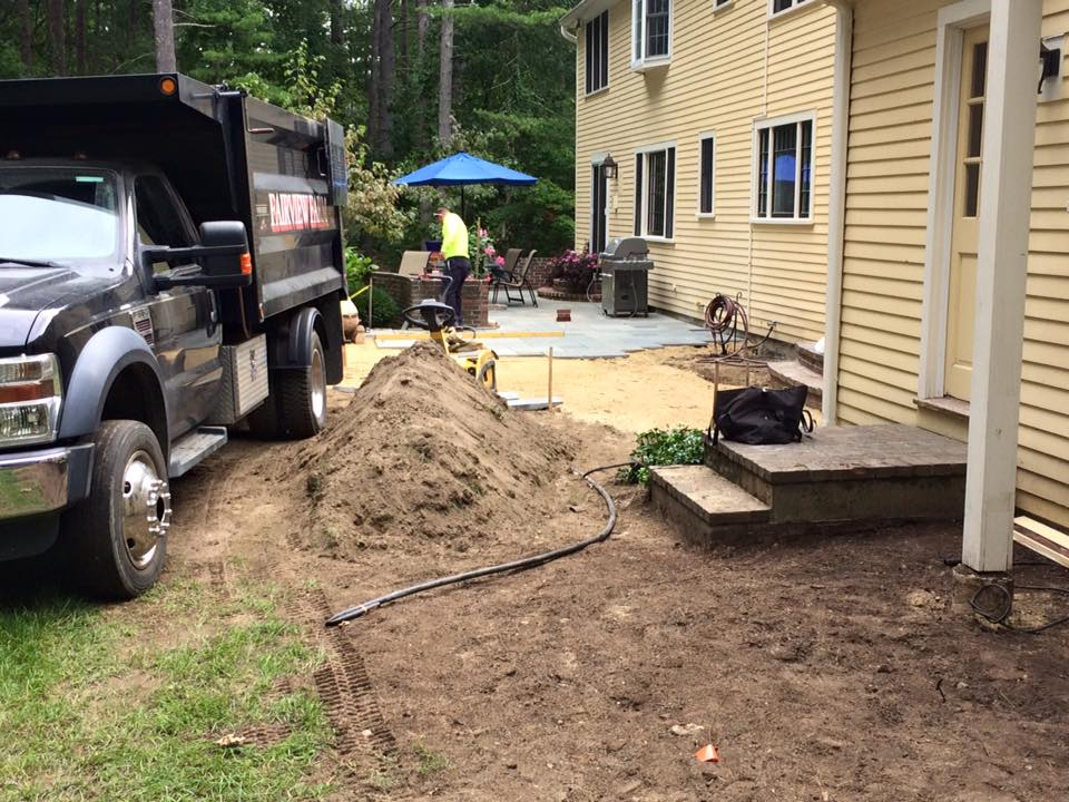 Top Soil Piled For Later Use In Beds, You Can See The New Patio Seamlessly