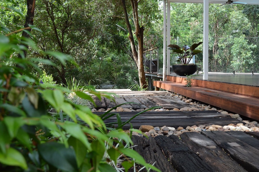Using natural materials and water catchment sensitive design. Design Megan Roe Landscape Design Brisbane