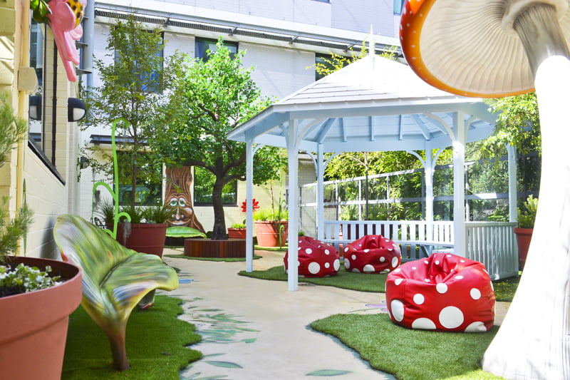 After - the Happy Garden at Sydney Childrens Hospital Randwick includes a 4m high 'magic light tree'
