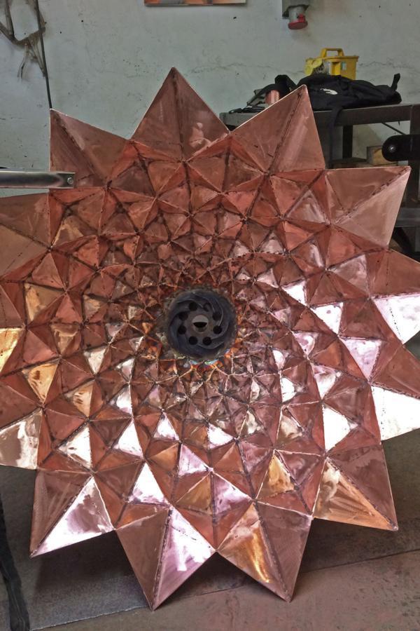 Fibonacci construction copper bowl by Giles Rayne